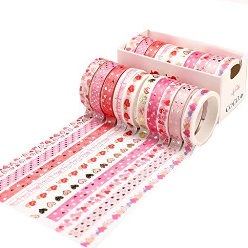 Feelairy Washi Tape Liebe Set, Washi Masking Tape Dekorative Klebeband für Scrapbooking, Bullet Journal, Planer, Geschenkverpackung - 10 Rolls Bronzieren Herz Mustern