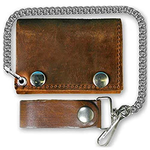 Distressed Natural Brown Leather Trifold Chain Wallet 4