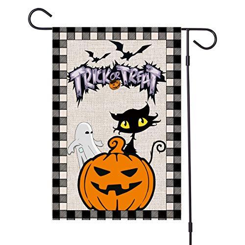MOORAY Halloween Garden Flag - Fall Pumpkin Cat Ghost Burlap House Yard Flag, Garden Outdoor Decorations