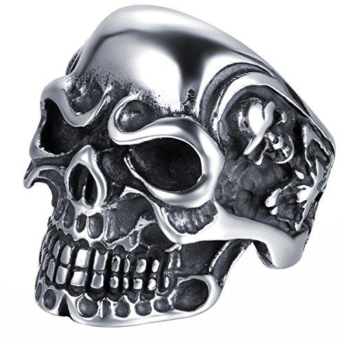 JewelryWe Anillo de Acero Inoxidable para Hombre, diseño de Calavera, Varias Tallas, con Bolsa de Regalo, Color Plateado y Negro (US#7=ES#14)