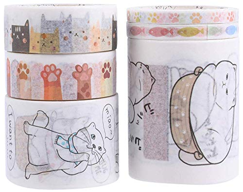 Doraking Cute Cartoon Cats Washi Tapes for Pencils, DIY Handcraft, Scrapbook, Album, Gift Wrapping (Cats, 6 Rolls/Pack)