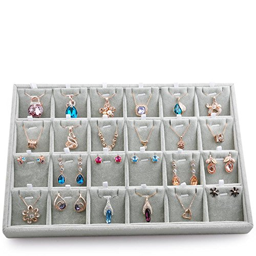 Oirlv Velvet Jewelry Tray 24 Grid Liner Pendant Earrings Organizer Storage Trays Showcase Display Jewelry Holder