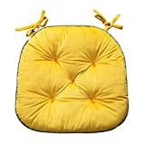 Chair Seat Cushion Pad for Kitchen,Dining Room,Patio Chairs,with Ties for Non-Slip Support,16.5 x 15.7 Inches,Yellow