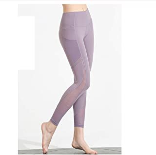 LPKH Yoga Pants Women's Mesh Trousers Yoga Pants,Tummy Control,Sports Leggings Running Tights Training Casual Pants (Color : Purple, Size : L)