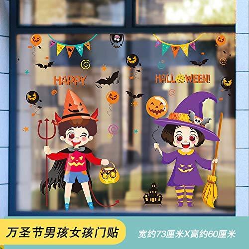 Creatieve L Aache; Halloween-muurstickers, deurgordijn, raamdecoratie, scène en etiketten van zelfklevend papier 04 Halloween Boy meisje deur sticker 73 x 60 cm
