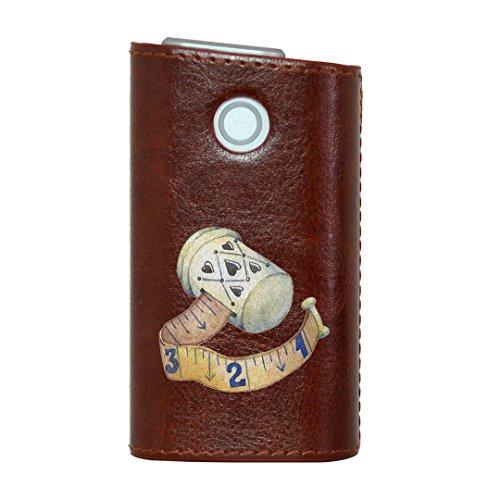 glo グロー グロウ 専用 レザーケース レザーカバー タバコ ケース カバー 合皮 ハードケース カバー 収納 デザイン 革 皮 BROWN ブラウン 裁縫 道具 014164