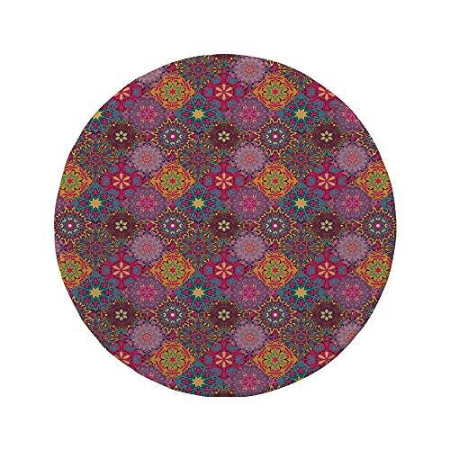 """Rutschfreies Gummi-Rundmauspad marokkanisch lebendige künstlerische Mandala-Motive in Quadraten im östlichen Henna-Folk-Patchwork-Stil mehrfarbig 7.9\""""x7.9\""""x3MM"""