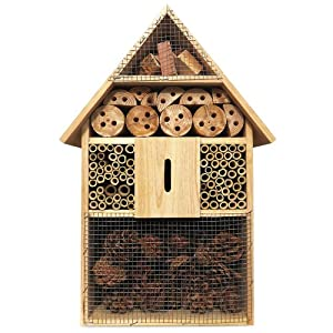 Deuba XXL Insect hotel 48cm Natural Wood Nest Box Nesting Habitat Bees Butterflies Ladybugs