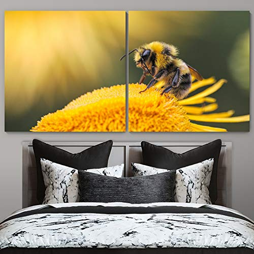 """bestdeal depot Bee on Flowers Decorative Elements Art For Home 2 Panel Canvas Wall Art Prints for Living Room,Bedroom Ready to Hang - 16""""x16"""" x 2 Panels"""