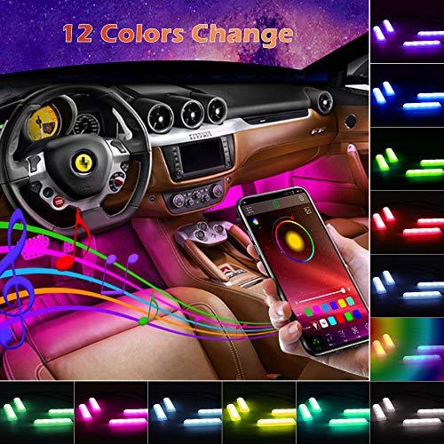 Striscia LED Auto con APP, Winzwon LED Auto Interni LEDs, Kit di Illuminazione e Decorazione per l'Interno di Auto Vari Colori Controllo APP per Decorare Auto