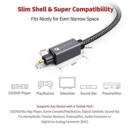 Optisches Kabel, Optisches Toslink Kabel, iVANKY Nylon Toslink Kabel kompatibel mit HiFi-System, Home Entertainment, Heimkino, Soundbar, CD/DVD/Blue-Ray-Player, Xbox und mehr - 1,8M - Space Grau