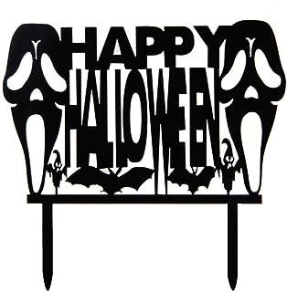 Black Acrylic Happy Halloween Cake Topper - Halloween Party Decoration - Halloween Cake Decoration