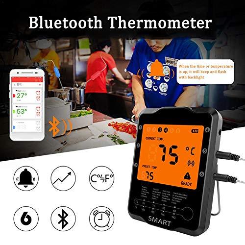 lembrd Digitale barbecuethermometer, vleesthermometer, draadloze digitale afstandskookthermometer, waterdichte BBQ-thermometer met kalibratie digitale kookvoedingsthermometer voor keuken