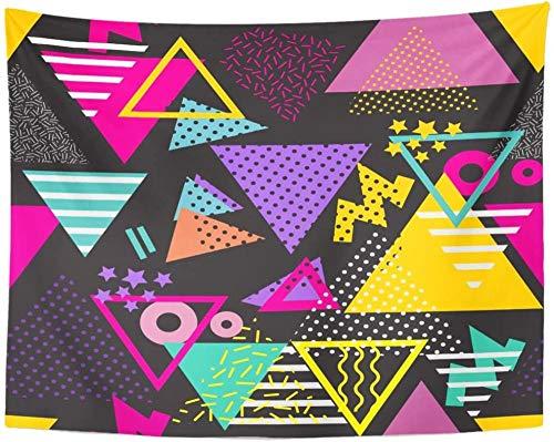 AdoDecor Colorido patrón geométrico de los años 90 en Estilo Retro de los 80 Triángulos Pop Diseño Ideal y gráfico de Archivo Tapiz de los años 80 Decoración para el hogar 152x132cm