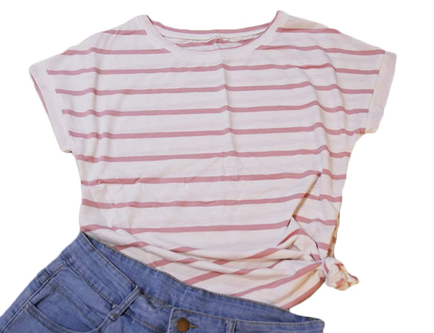 Hioinieiy Women's Summer Casual Short Sleeve Striped T Shirt Petite and Plus Size Tops Crew Neck Cute Tees