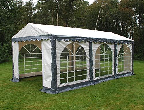 Dancover Partyzelt Pavillon Festzelt Original 3x6m PVC, Grau/Weiß