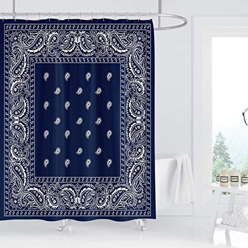 Kikiry Bandana Southwestern Shower Curtain 60''W x 72''L Paisley Navy Blue Boho Mandala Floral Polyester Fabric Waterproof 12 Pack Plastic Hooks