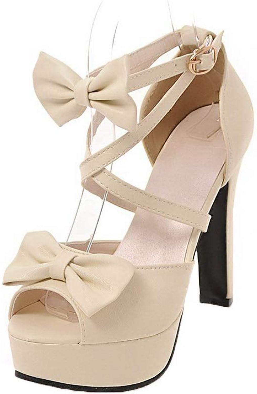 11e7fe0c2b14d WeiPoot Women's High-Heels Solid Open-Toe Sandals, EGHLH007528 ...