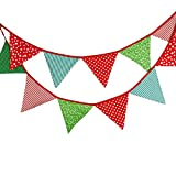 Nikgic. Wimpeln Wimpelkette Baumwolle farbenfrohe mit 12 Wimpel Grün Rot für Draußen Länge 3.2m Dreiecksform Kindergeburtstagsfeier (6)