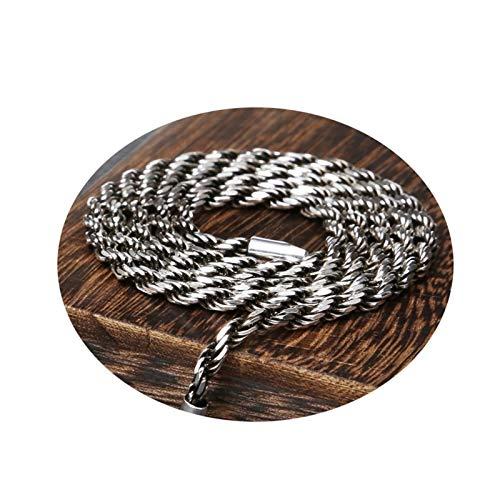 AueDsa Collar Plata Ley 925 Hombre,Collar de Plata Hombre Cadena de Retorcida Longitud 50CM