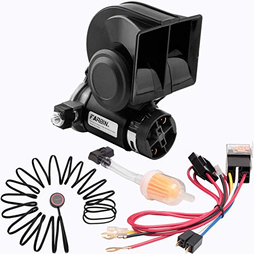 FARBIN Compact Air Horn Kit 12V 150db Loud Horn for Car/Truck,with Wiring Harness and Push Button Switch(12V, Black Horn with Button)