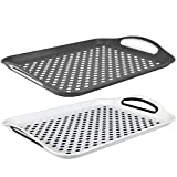 Serving Tray - 2 Pack - Anti-Slip Top and Bottom Plastic | Rubber Surface | Easy Grip Handles | for Tea Coffee Cereal Table Bed Breakfast Dinner Home and Office - Grey and White