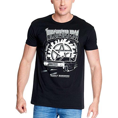 Elbenwald Mens T-Shirt Supernatural Winchester Bros Nero di Cotone - M