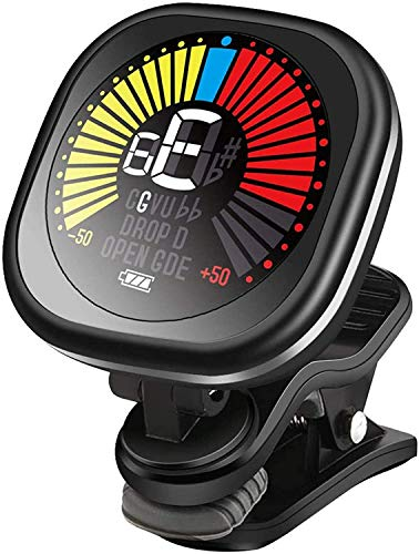 Rechargeable Guitar Tuner, Wegrower Clip On Tuner with LCD Color Display with Guitar, Ukulele, Violin and Chromatic Tuning Modes for All Stringed Instruments