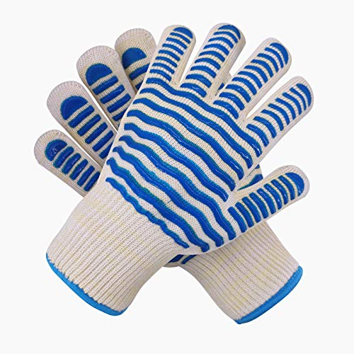 BBQ Gloves, Soffiya Extreme Heat Resistant Oven Gloves - EN407 Certified 932F - Cooking Gloves for BBQ, Grilling, Baking, Oven Mitts, 1 Pair (2 Pieces Set) (White)