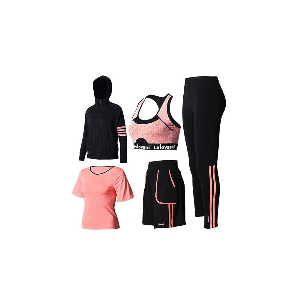 征服怖い湿原女性の長袖ズボンヨガ服5パーカーヨガフィットネススポーツウェアスポーツブラフィットネスヨガ服 (Color : 2, Size : L)