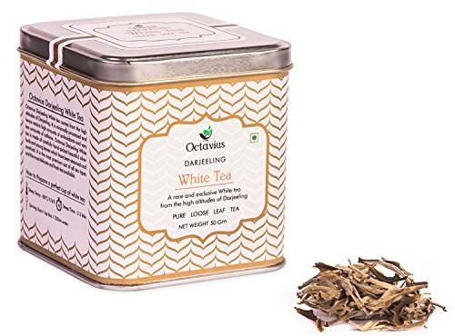Octavius Premium Darjeeling White Tea (Silver Needle) | A Rare and Exclusive tea from the Hills of Darjeeling | Packed in Decorative Tin Box - 50 grams(25cups) | Perfect for gifting