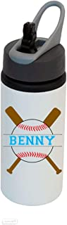 Personalized Custom Add Your Name - Baseball/Softball Aluminum White Finish 22 Ounce Sport Water Bottle, Straw Lid, Handle - Customizable
