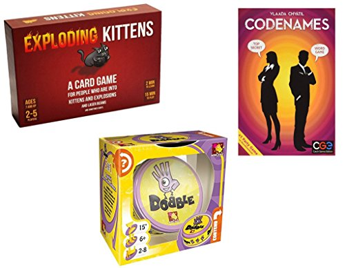 Exploding Kittens Party Games Bundle - Codenames, Dobble