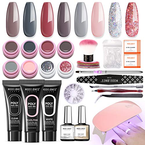 Modelones Gel Nail Polish Starter Kit Poly Nail Gel Kit with UV led light, Nude Gray Pink Series Colors for French Nail Essentials Manicure Nail Art Decorations,christmas nail gifts for women