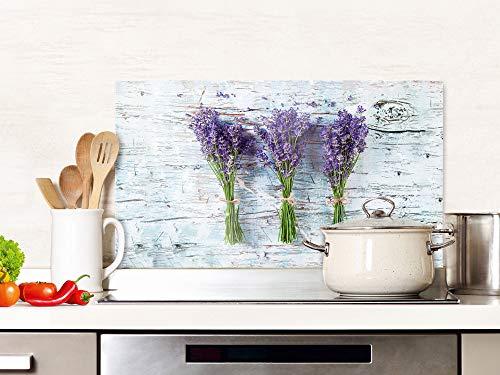 GRAZDesign Spritzschutz Küche Glas Lavendel Grau Holz, Küchenrückwand Glasplatte / 100x50cm