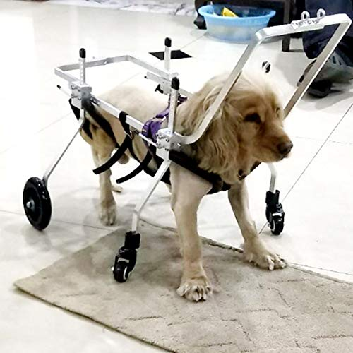 Dog Wheelchair,Adjustable Full Support Pet Treadmills 4 Wheels Dog Cart Front and Hind Legs Rehabilitation for Handicapped Small Dog Doggie Puppy Cat