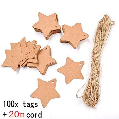 JZK® 100 stella targhette carta kraft + 20M spago corda juta, cartellini cartoncini per bomboniere regali prezzi per matrimonio compleanno battesimo comunione, etichetta marrone