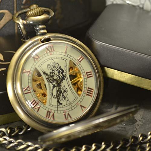 Erding zakhorloge, zakhorloge, skelet brons retro antiek skelet mechanisch herenzakhorloge ketting ketting business tas en horloges
