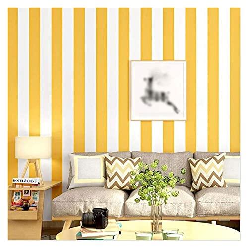 Papel Pintado Blanco Amarillo Rayas Verticales Papel Pintados de Papel de Pared para la Sala de Estar de la Sala de Juegos (Color : Yellow White, Size : 9.5m/0.53m)