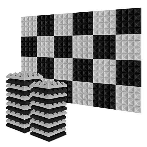 Acolchado Insonorizado, AGPtEK 24 Paquetes de Espuma Insonorizadora 25x25x5CM Paneles de Espuma Acústica, Ideales para Grabar en Estudios, Salas de TV, Habitaciones de Niños, 12 Negro, 12 Gris