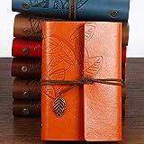 SENRISE - Cuaderno recargable vintage con hojas sueltas en relieve, libros de escritura con colgantes retro, diario de viaje (1 unidad-naranja)