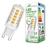 Bombilla LED regulable greenandco IRC 95+ G9 3W (corresponde a 25W) 250lm 2700K (blanco cálido) 320° 230V AC, sin parpadeo