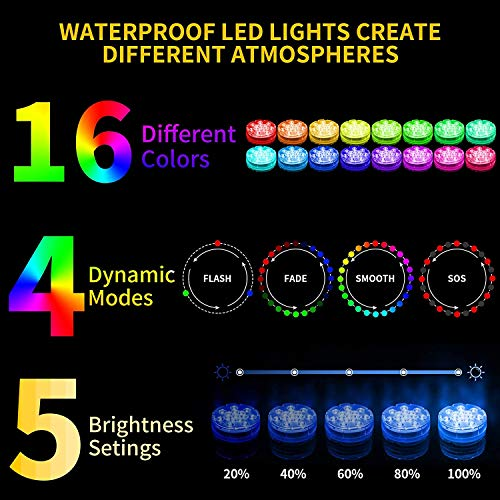Oralys Submersible LED Pool Lights - Waterproof Shower Lights,Underwater Bathtub Light with 16 Colors,Magnetic,RF Remote,Suction Cups,for Inground Above Ground Pool,Hot Tub,Fish Tank,Fountain-1 Pack