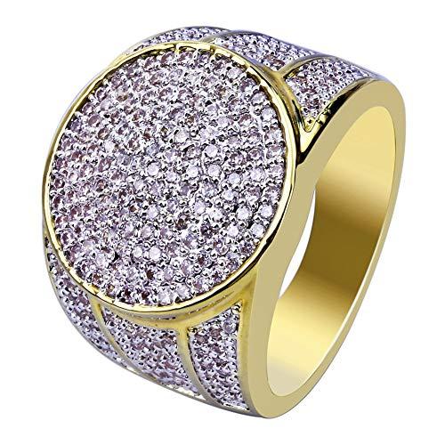 Hip-Hop-Ring Mikro-Eingelegter Zirkon Ringe Herren 18 Karat Vergoldung/Nie Verblassen Goldring Schmuck Geschenkbox,10