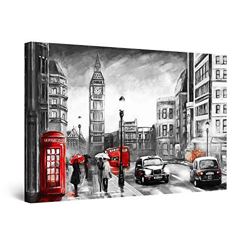 Startonight Cuadro Moderno en Lienzo - Big Ben Londres Negro Blanco Rojo - Pintura Urbana para Salon Decoración 60 x 90 cm