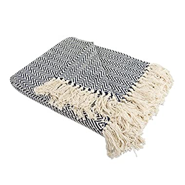DII Rustic Farmhouse Cotton Chevron Blanket Throw with Fringe for Chair, Couch, Picnic, Camping, Beach, Everyday Use, 50 x 60 - Mini Chevron Nautical Blue