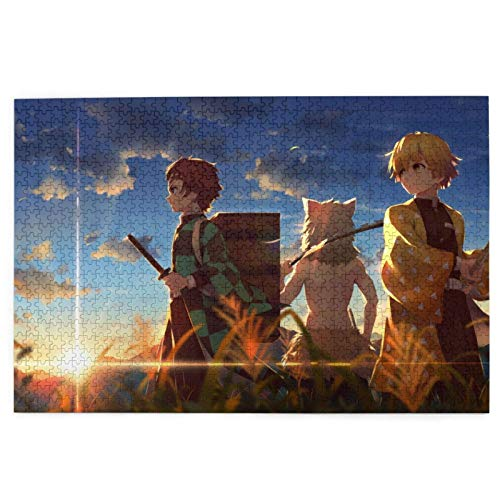 Kimetsu No Yaiba Cute Cartoon Agatsuma Zenitsu Wooden Jigsaw Puzzles Hd Printed Cartoon Patchwork Pattern Home Decoration for Adults,Kids,Teens (1000 Pcs)