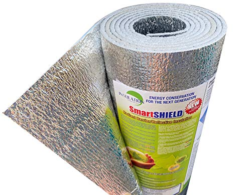 """SmartSHIELD -3mm 48""""x10ft Reflective Insulation roll, Foam Core Radiant Barrier, Thermal Insulation Shield - Engineered Foil"""