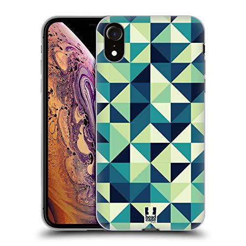 Head Case Designs Triángulos Azules Y Verdes Ópticas Geométricas Impresiones Carcasa de Gel de Silicona Compatible con Apple iPhone XR