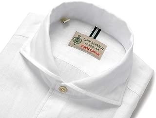 ルイジボレッリ ルイジボレリ LUIGI BORRELLI / 20SS!製品洗いリネンポプリン無地イタリアンカラーシャツ「VESUVIO(9129)」 (ホワイト) メンズ